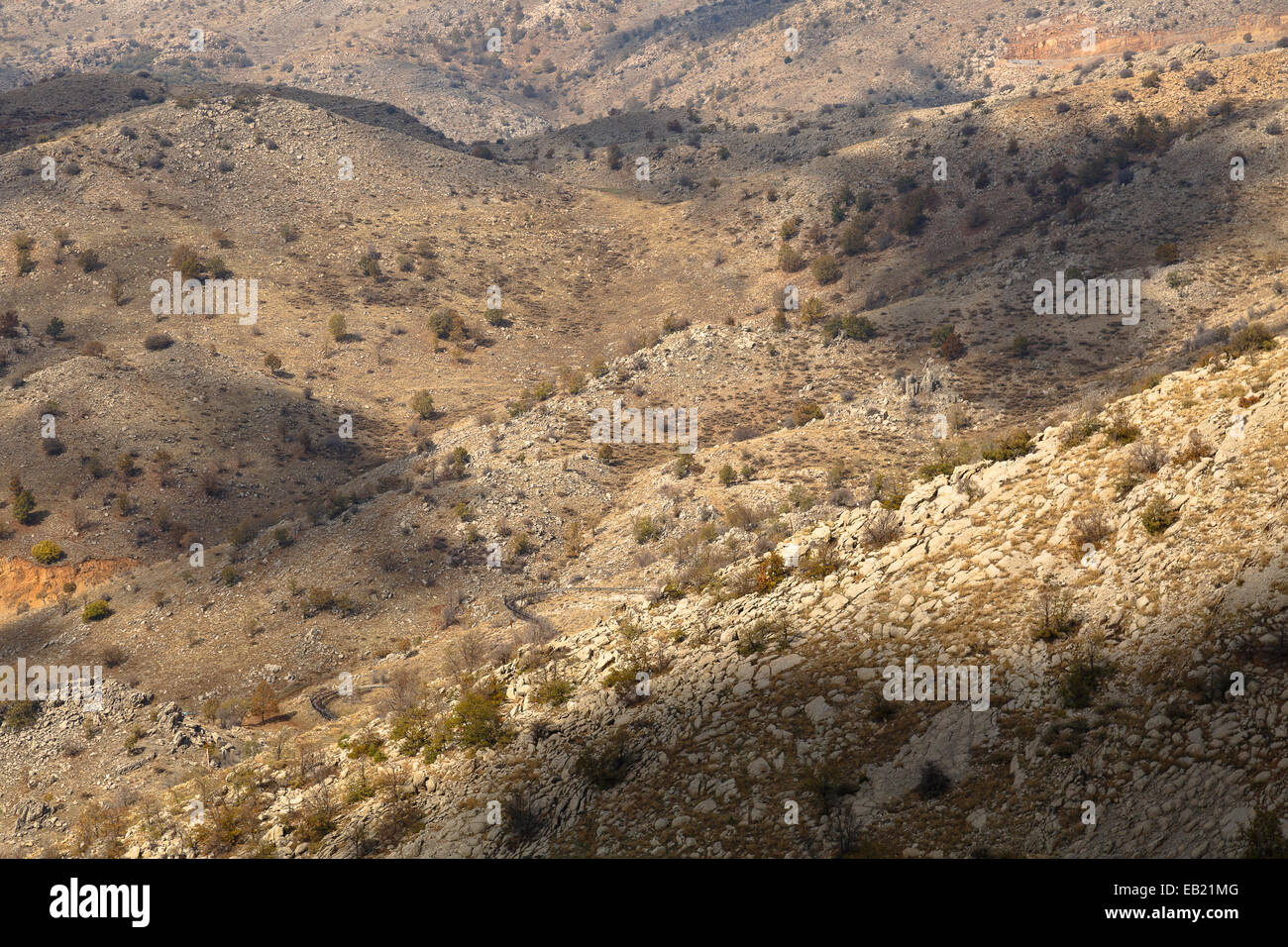 Montagne. Alture del Golan. Israele. La Siria. Asia Foto Stock