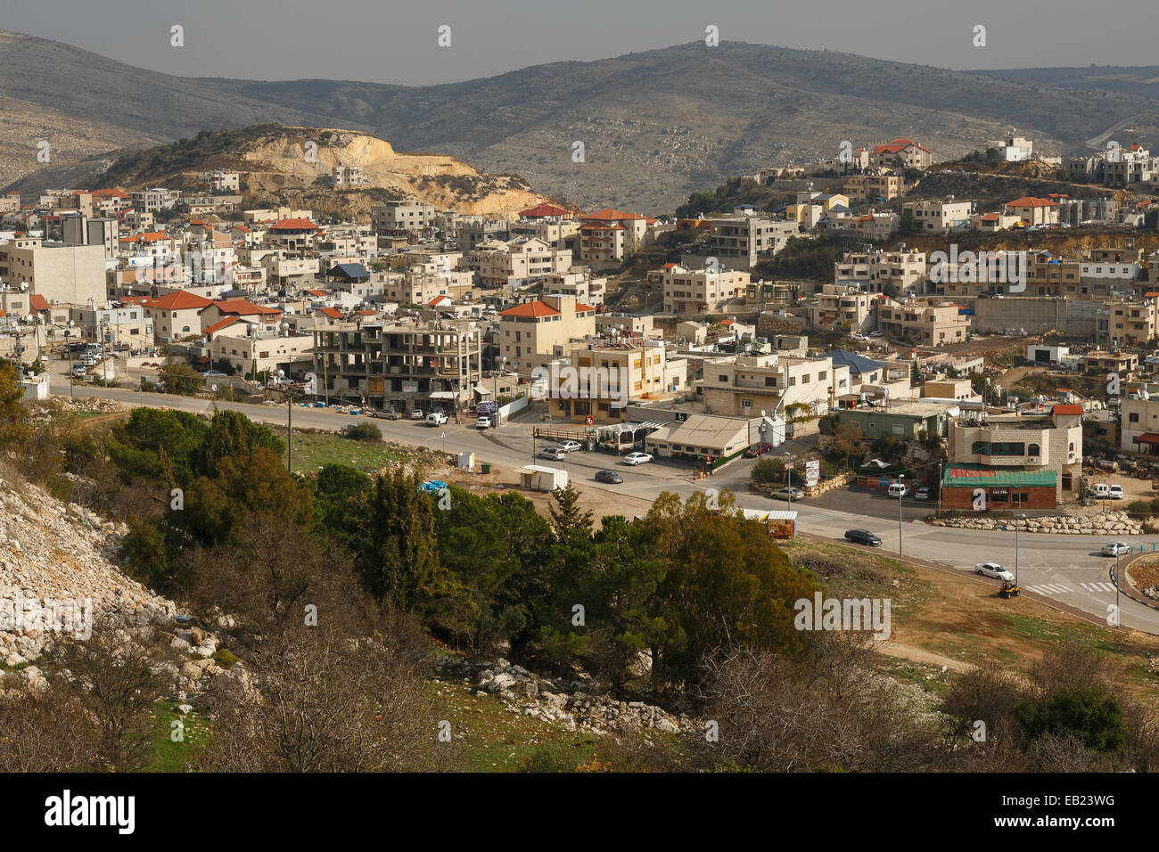 Vista del villaggio. Majdal Al Shams. Alture del Golan. Israele. La Siria. Asia Immagini Stock