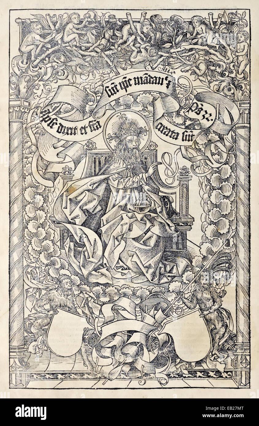 """Dio Padre in trono. Frontespizio da """"Liber Chronicarum' di Hartmann Schedel (1440-1514), la xilografia Immagini Stock"""