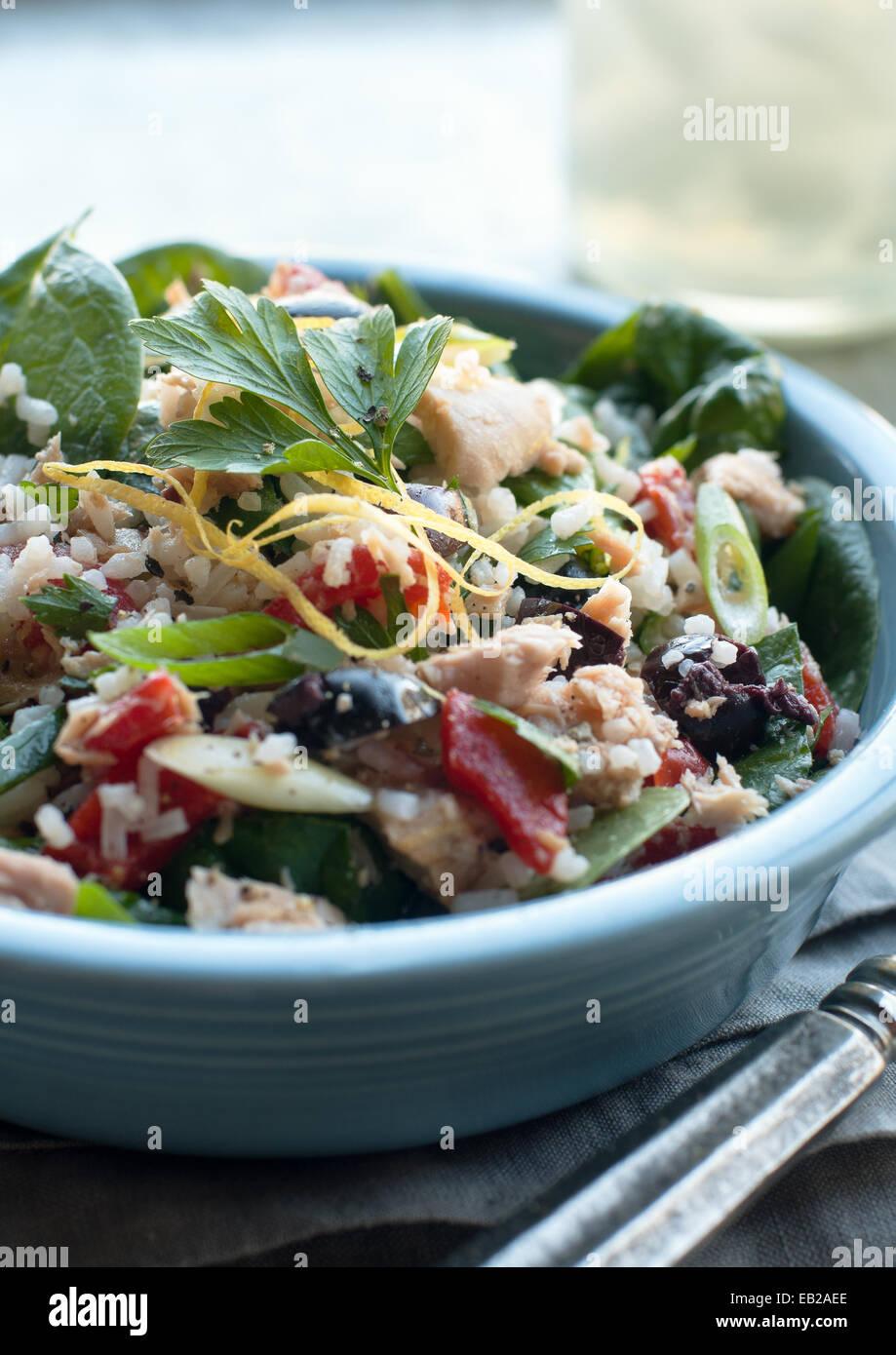 Si lancia con insalata di tonno, riso e verdure Immagini Stock