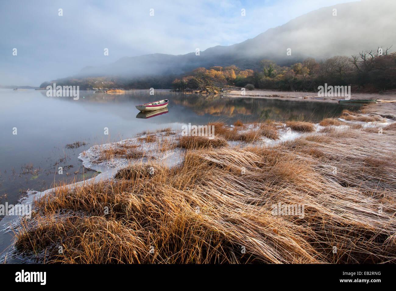 Gelido inverno mattina sulla riva del Lago Superiore, Parco Nazionale di Killarney, nella contea di Kerry, Irlanda. Immagini Stock