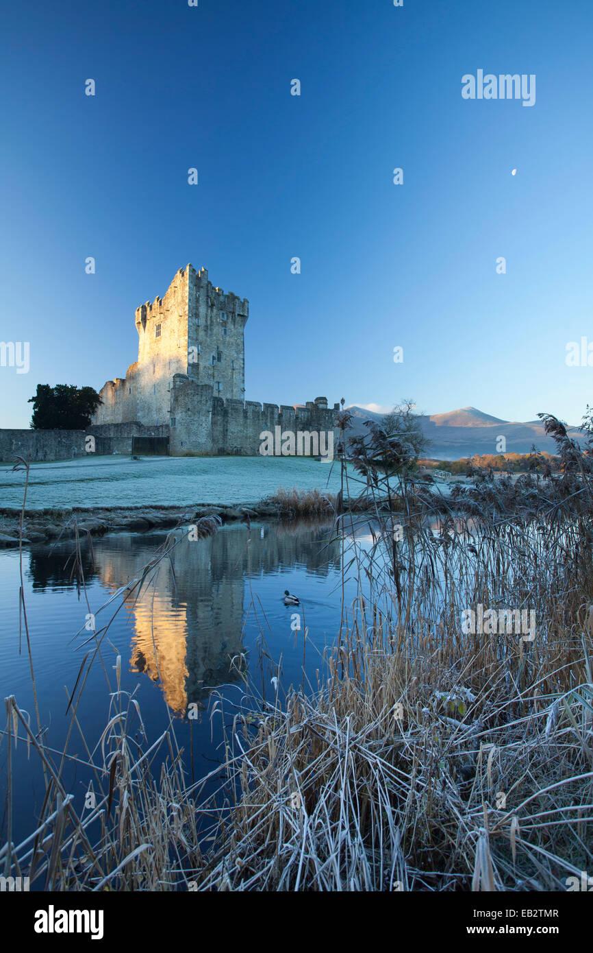 Inverno al Castello di Ross, Lough Leane, Parco Nazionale di Killarney, nella contea di Kerry, Irlanda. Immagini Stock