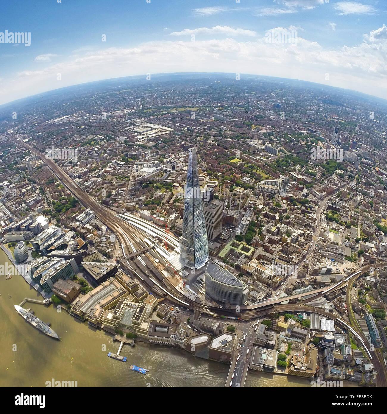 Regno Unito, Inghilterra, vista aerea di Shard a Londra Foto Stock