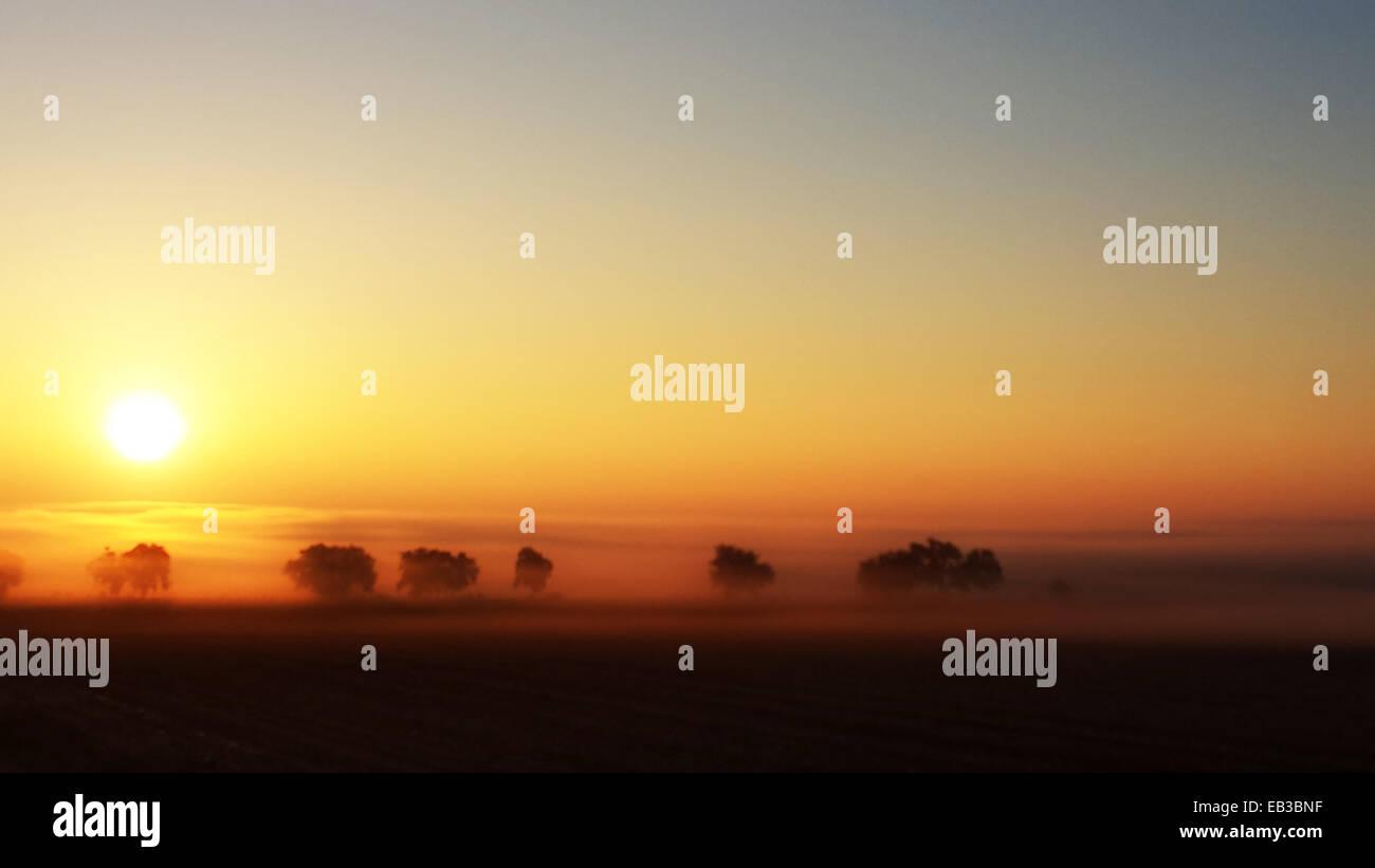 Stati Uniti d'America, Colorado, Foggy sunrise Immagini Stock