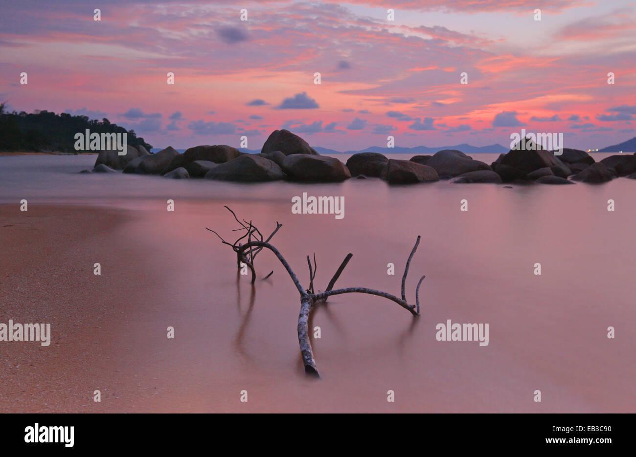 Indonesia, Singkawang, Kura Kura spiaggia al tramonto Immagini Stock
