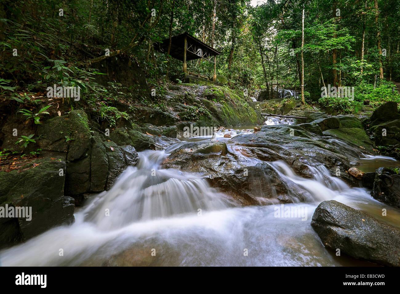Malaysia, Selangor Stato, Semenyih, Sungai Tekala foresta ricreativa, fiume di montagna Immagini Stock