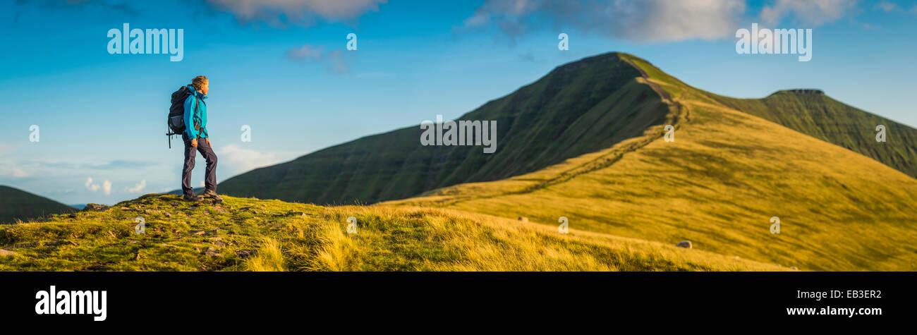 Vista panoramica di un escursionista camminare su per la collina erbosa Immagini Stock