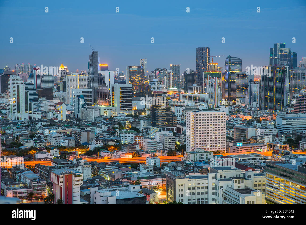Bangkok City night view, Thailandia Immagini Stock