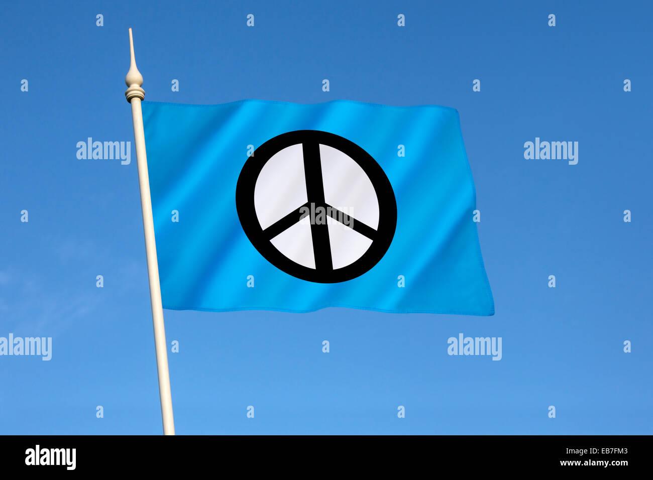Bandiera della Campagna per il disarmo nucleare - CND Immagini Stock