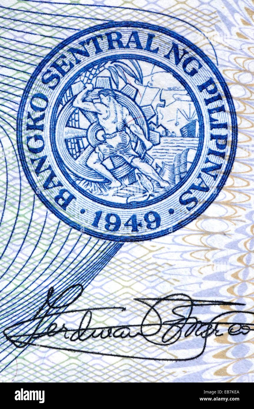 Dettaglio di una banconota filippino che mostra anti-contraffazione la stampa dettagli e la tenuta delle Filippine Immagini Stock