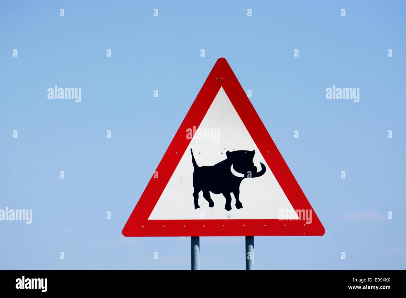 Segnale di avvertimento, attenzione ai facoceri, Regione di Hardap, Namibia Immagini Stock