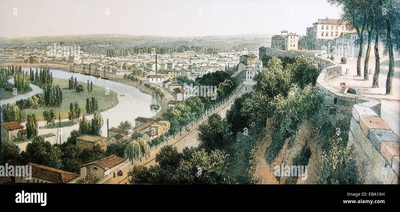 Angoulême, L'Houmeau (litografia, c. 1860), Charente-Maritime, Poitou-Charentes, Francia Immagini Stock
