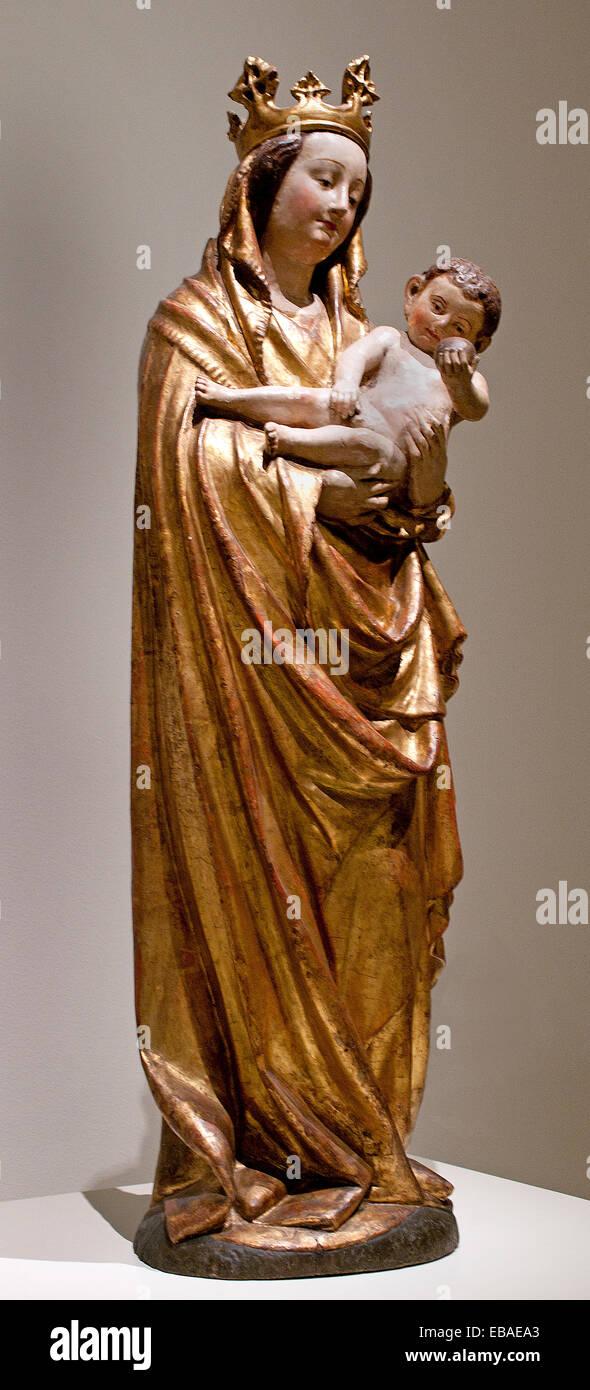 Vergine 1400 Boemia gotico medievale Arte Scultura boema Immagini Stock