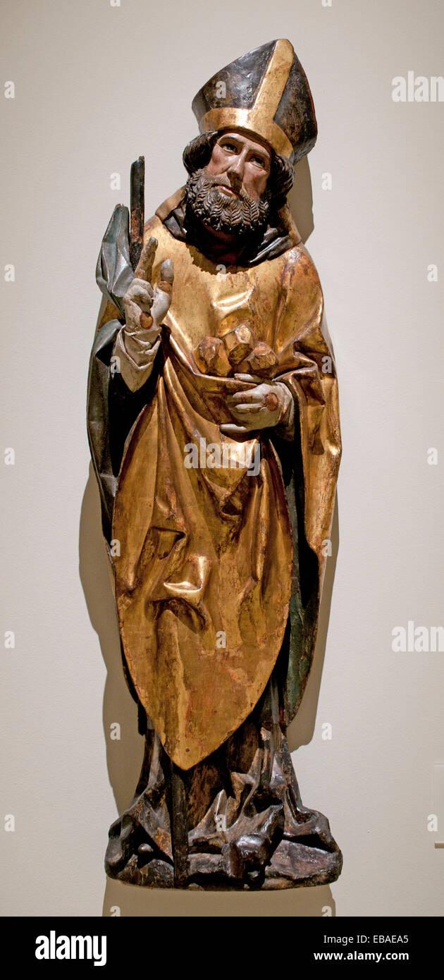 Saint Nicholas medievale di arte gotica 1500 il tedesco in Germania Immagini Stock