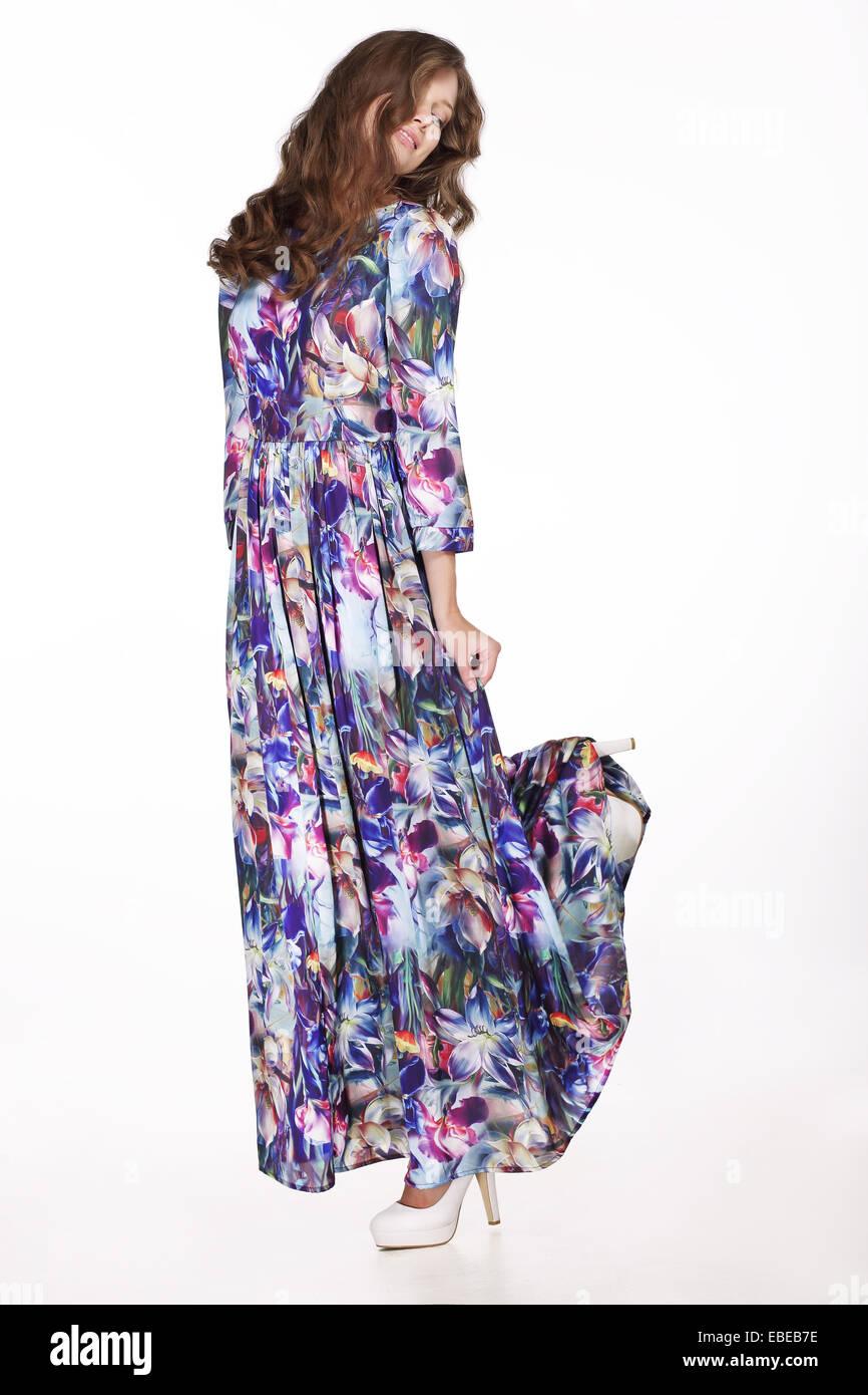 Moda donna in abiti casual - classico abito di seta Immagini Stock