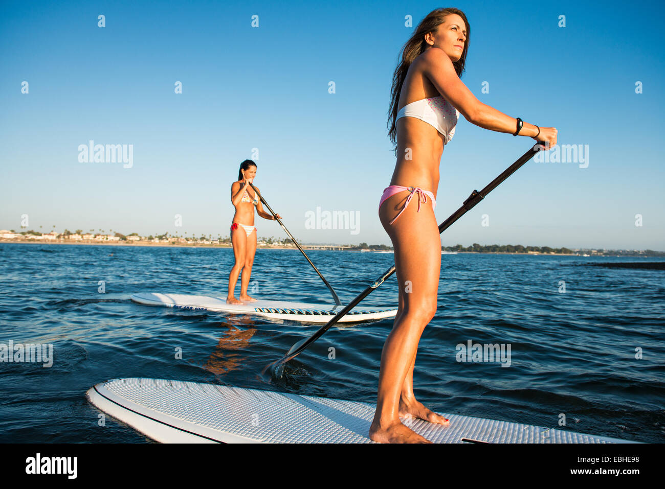 Due donne stand up paddleboarding, Mission Bay, San Diego, California, Stati Uniti d'America Immagini Stock