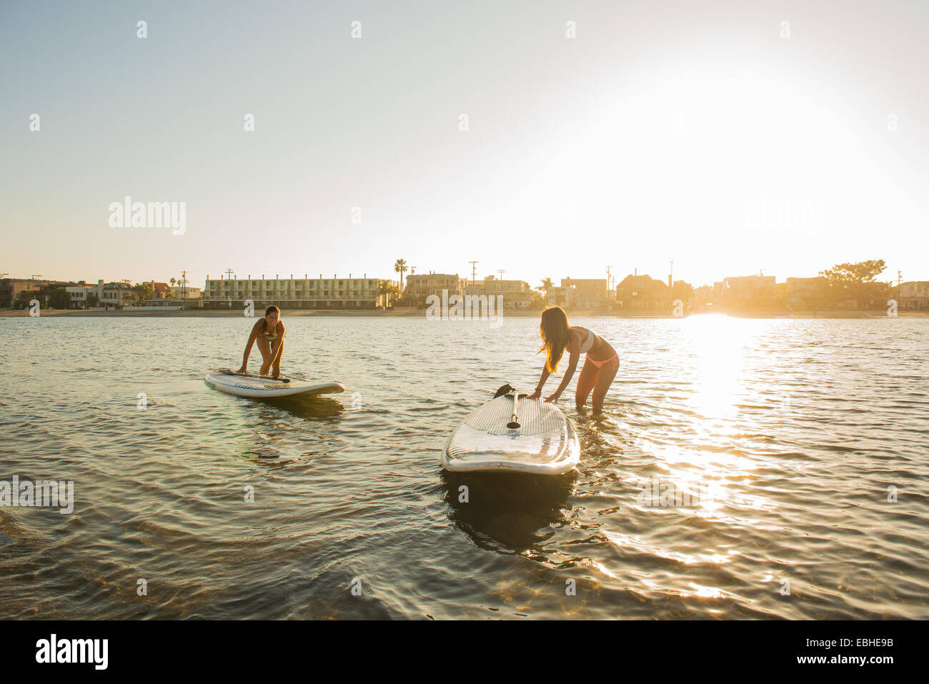 Due donne paddleboards spinta al tramonto, Mission Bay, San Diego, California, Stati Uniti d'America Immagini Stock