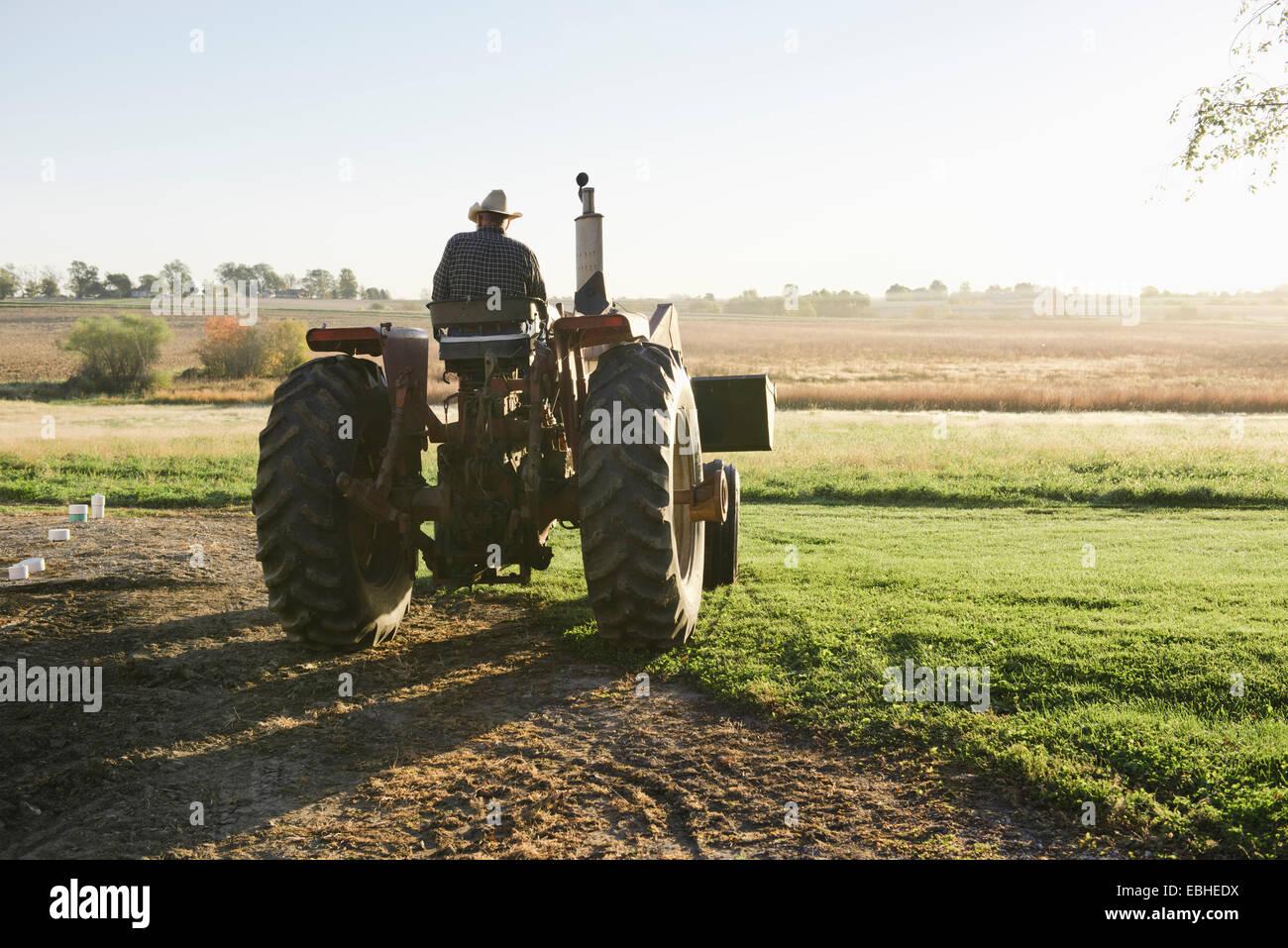 Vista posteriore del maschio anziano contadino di guidare il trattore nel campo, Plattsburg, Missouri, Stati Uniti Immagini Stock