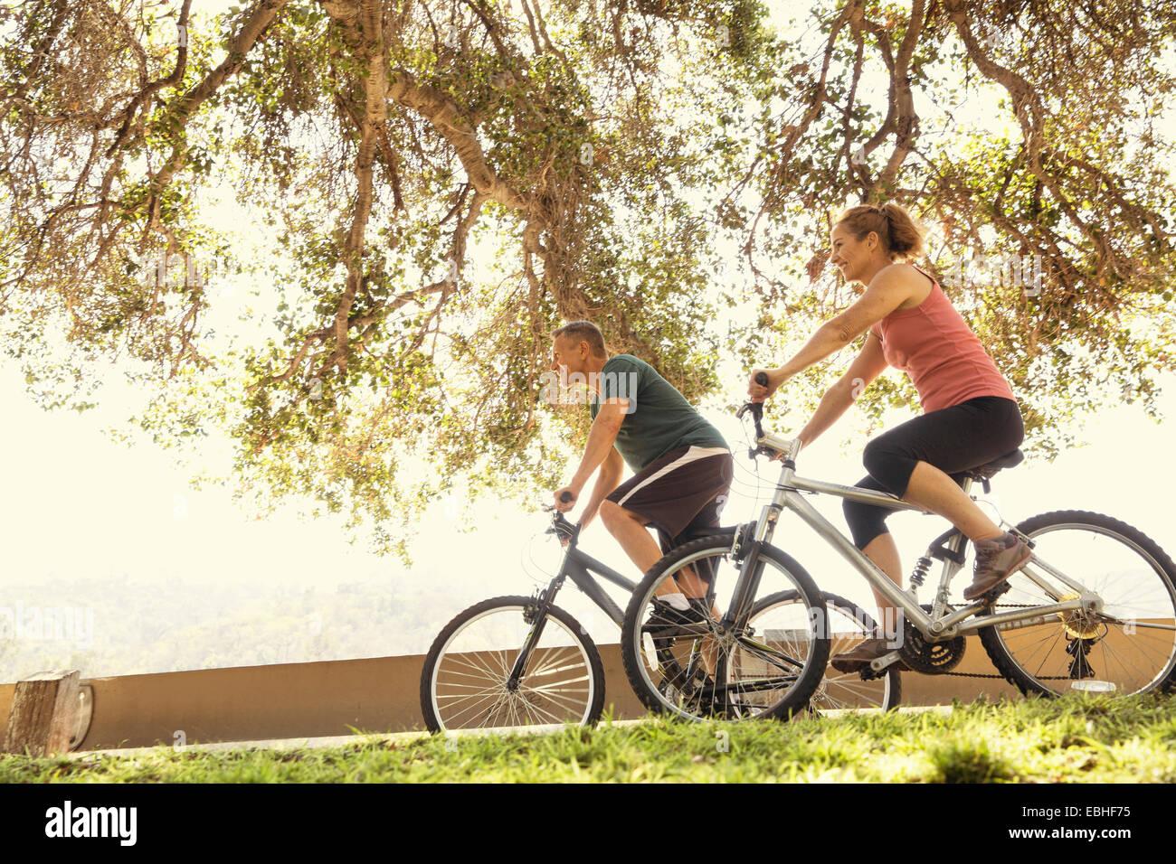 Coppia matura in bicicletta nel parco Immagini Stock
