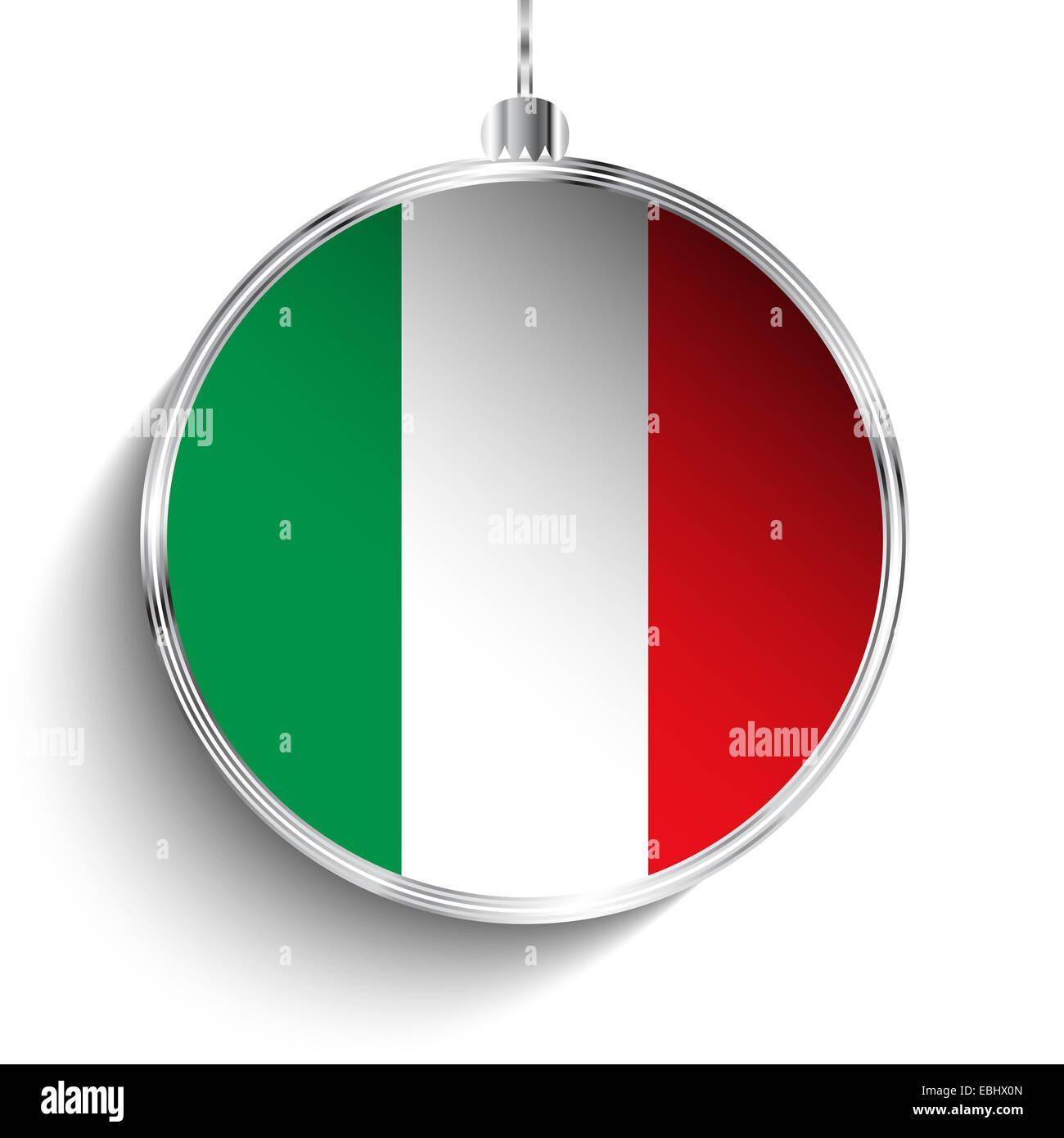 Buon Natale Italia.Vettore Buon Natale Sfera In Argento Con Bandiera Italia Foto Stock Alamy