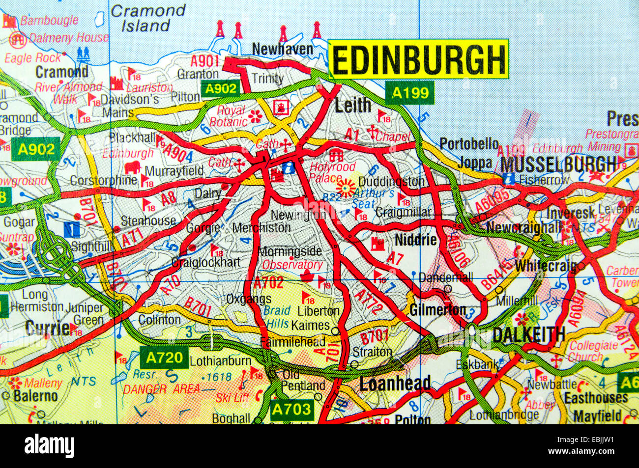 Cartina Stradale Della Scozia.La Mappa Stradale Di Edimburgo In Scozia Foto Stock Alamy
