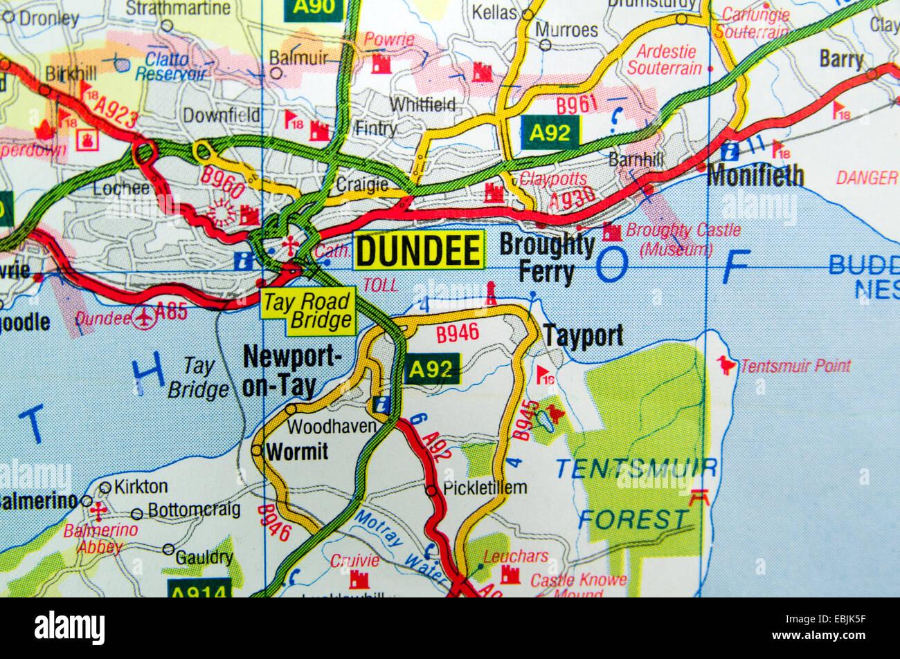 Scozia Cartina Stradale.Mappa Stradale Della Scozia Foto Stock Alamy