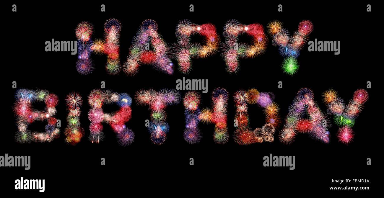 Buon Compleanno Testo Coloratissimi Fuochi Dartificio Isolato Su