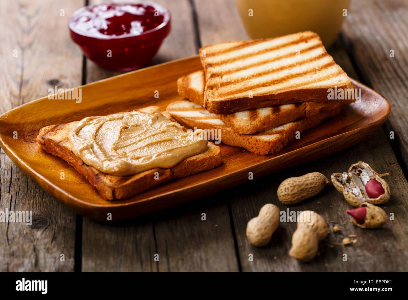 Sandwich al burro di arachidi Immagini Stock