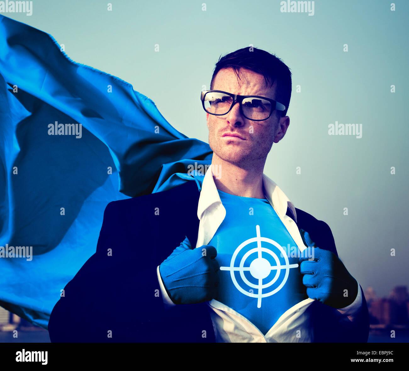 Obiettivo del supereroe di forte successo Empowerment professionale il concetto di stock Immagini Stock
