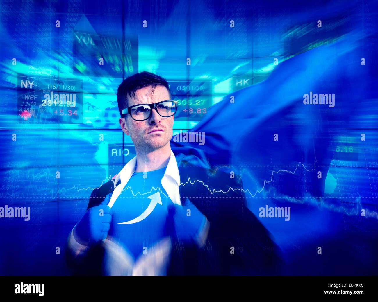 Freccia del supereroe di forte successo Empowerment professionale il concetto di stock Immagini Stock