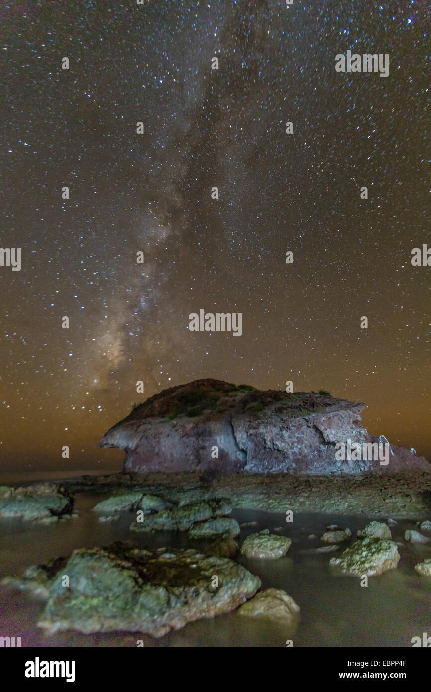 Vista notturna della Via Lattea dall Himalaya Beach, Sonora, Messico, America del Nord Immagini Stock