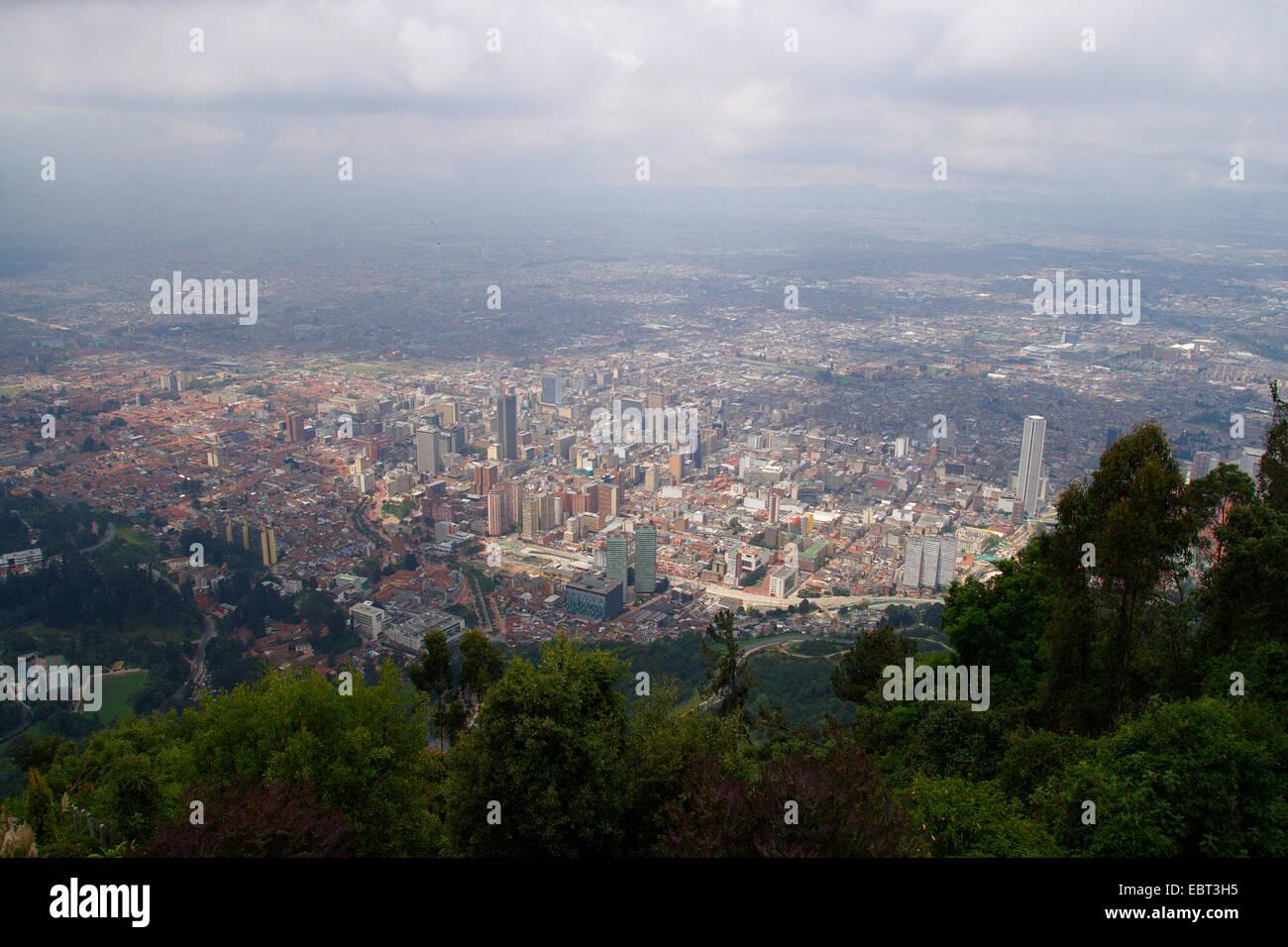 Vista da Montserrate a Bogotá, Colombia, Bogotà Immagini Stock