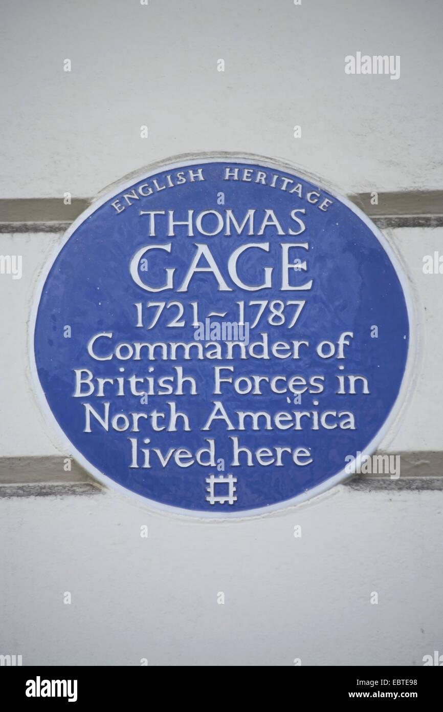 English Heritage targa blu segnando una casa di Thomas gage, Portland Place, Londra, Inghilterra Immagini Stock