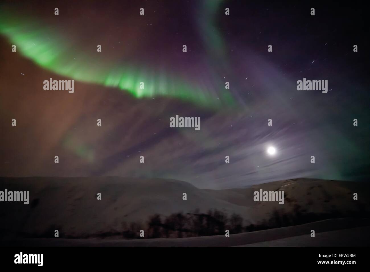 Northern Light corona, Norvegia, Troms, Kvalya, Troms Immagini Stock