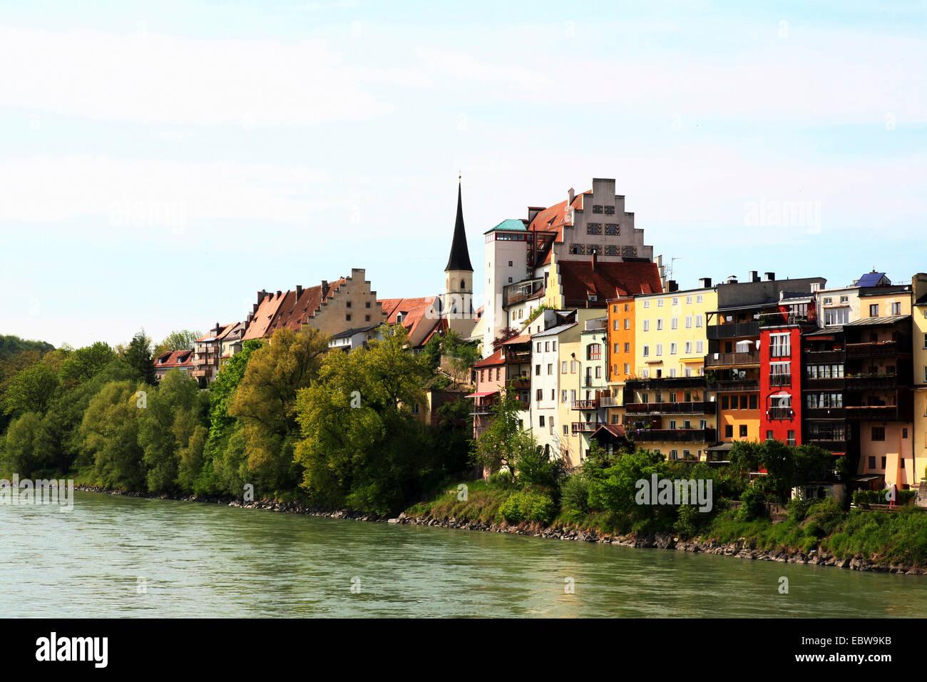 Wasserburg Am Inn Germania città vecchia vicino al fiume inn banca , germania baviera