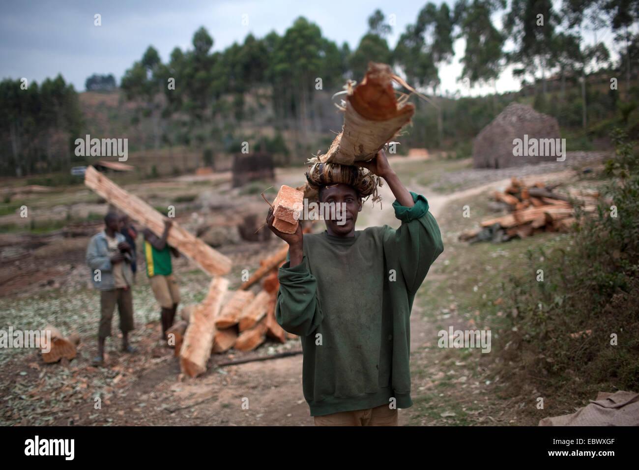 Giovane uomo che porta il fascio di legname per la cottura del forno di mattoni, Burundi, Karuzi, Buhiga Immagini Stock