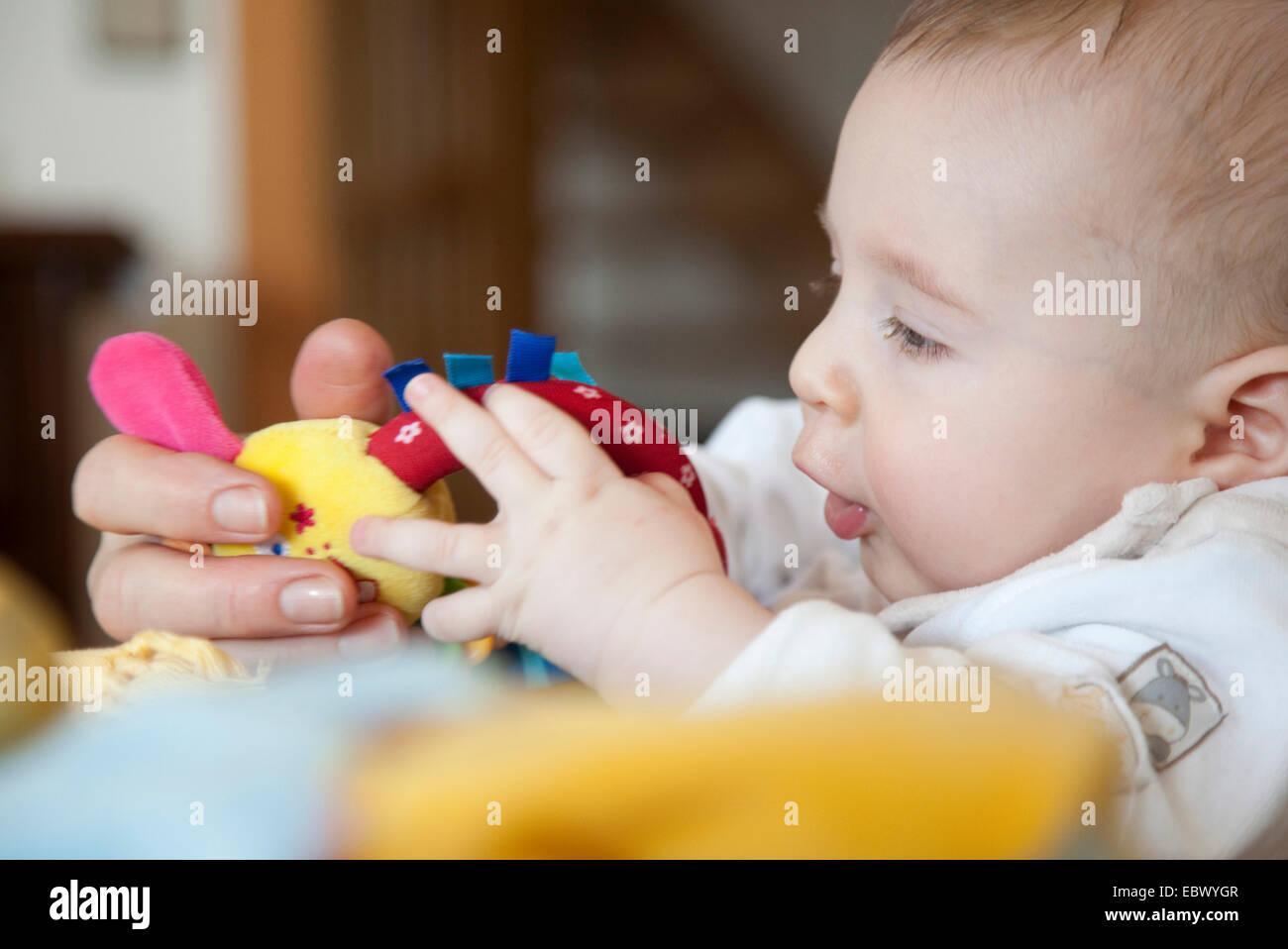 228e358ffc 5 mesi di età bambino gioca con i giocattoli Foto & Immagine Stock ...