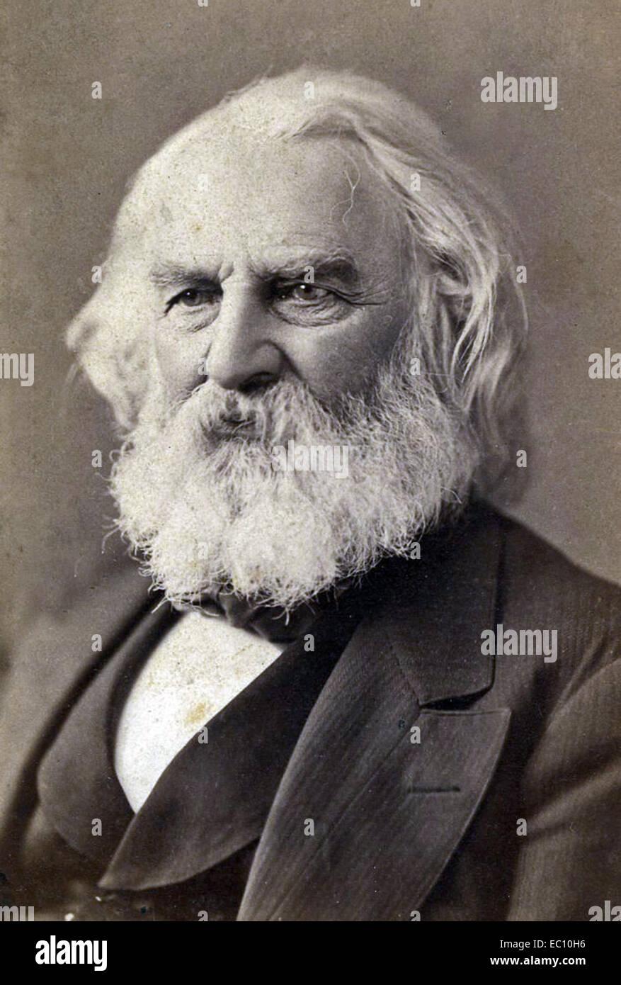"""Henry Wadsworth Longfellow poeta americano ed educatore """"cavalcata di Paul Revere."""" La canzone di Hiawatha Immagini Stock"""