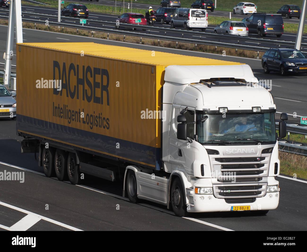 SCANIA R440, Dachser logistica intelligente Immagini Stock