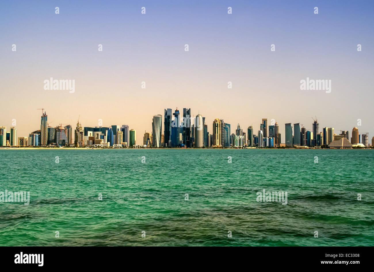 Città moderna,di Doha in Qatar Immagini Stock