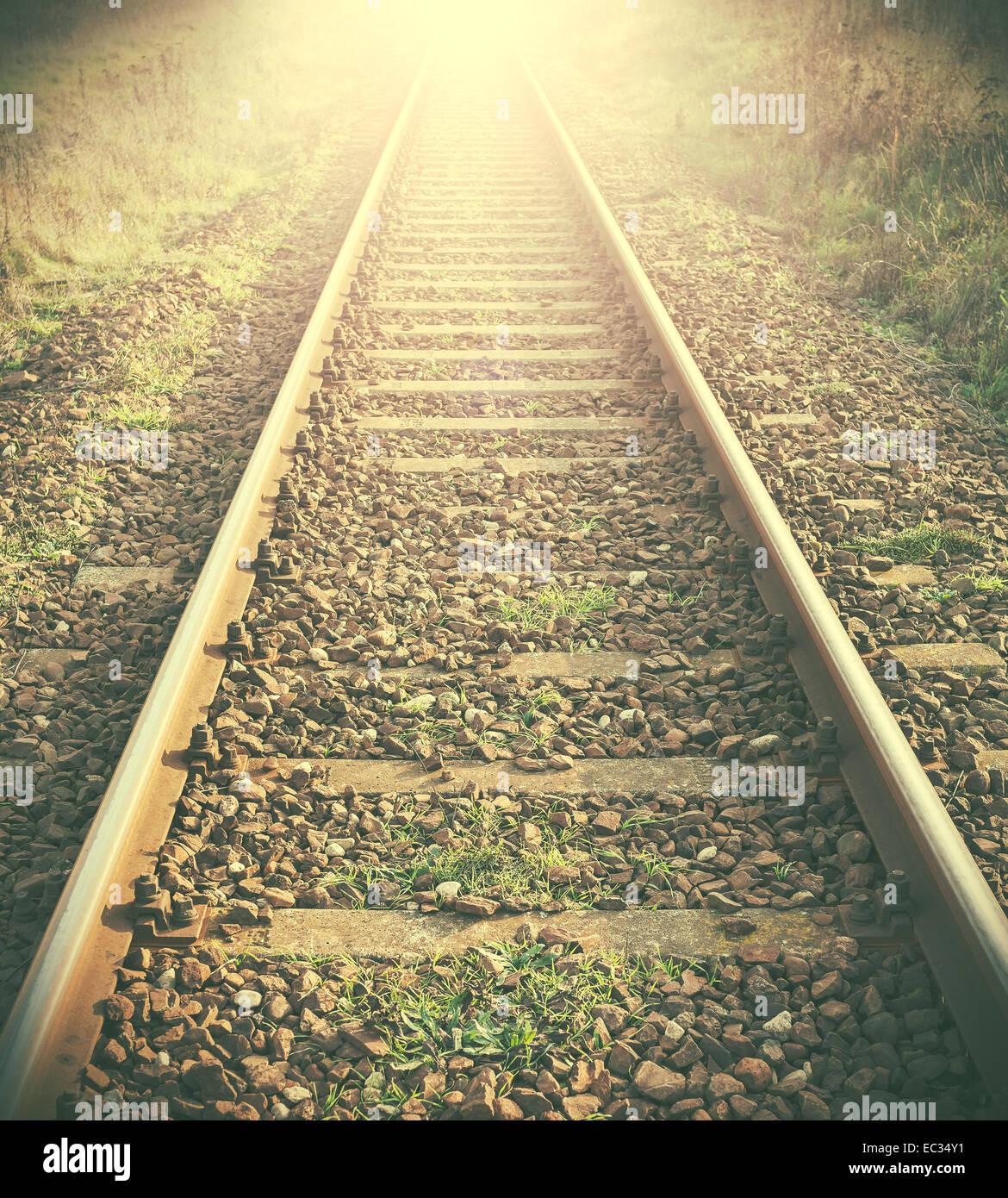 Vintage immagine filtrata di binari ferroviari. Immagini Stock