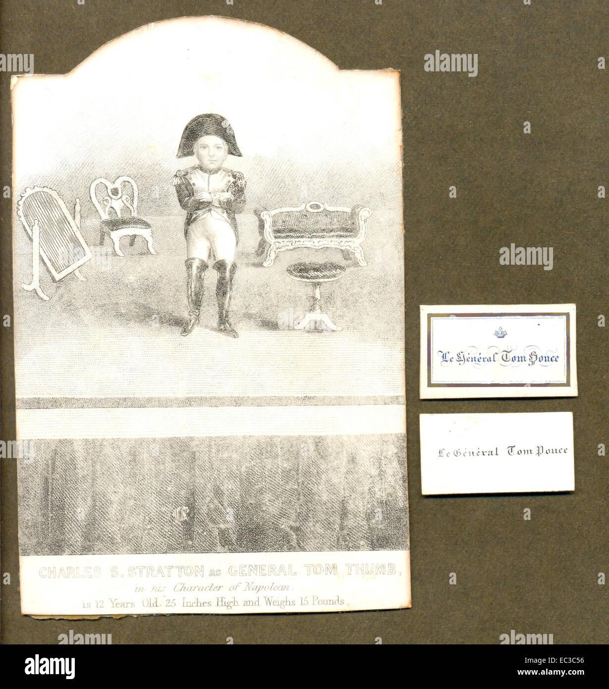 Scheda di Souvenir di Charles S Stratton nel suo carattere di Napoleone con due delle sue personali biglietti da visita. Foto Stock
