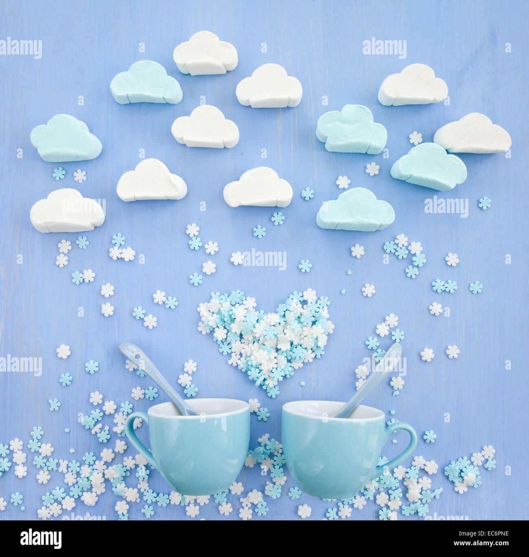 Marshmallows in forme cloud Immagini Stock