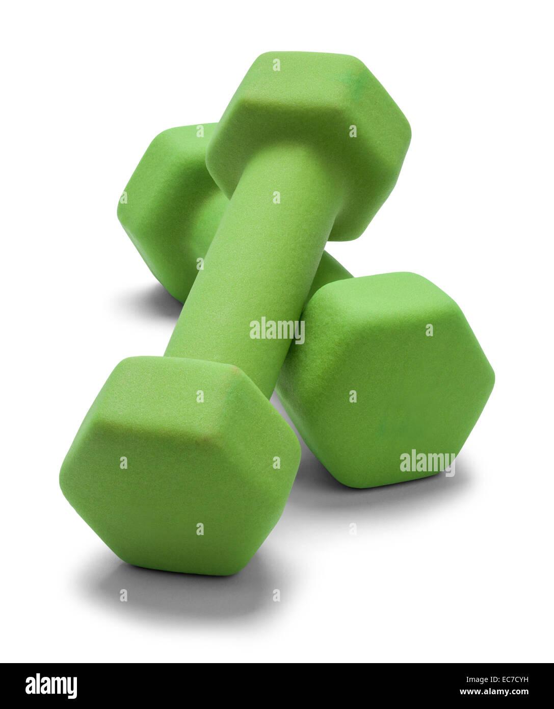 Verde fuori lavoro pesi isolato su sfondo bianco. Immagini Stock