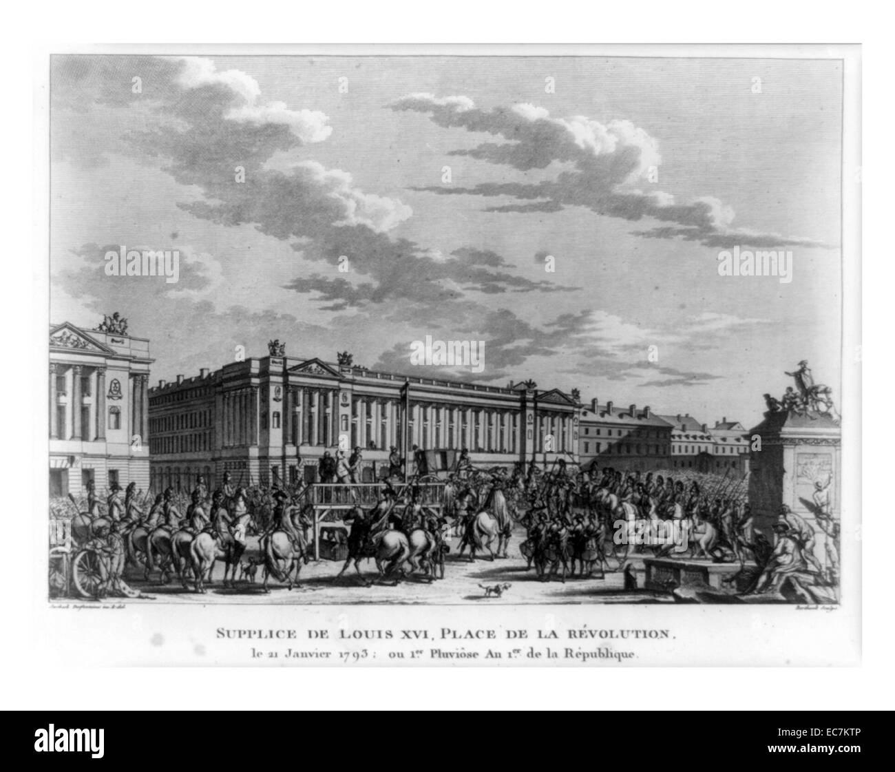 Soldati francesi, alcune a cavallo e i cittadini riuniti attorno alla piattaforma dove Louis XVI sta davanti a ghigliottina Immagini Stock