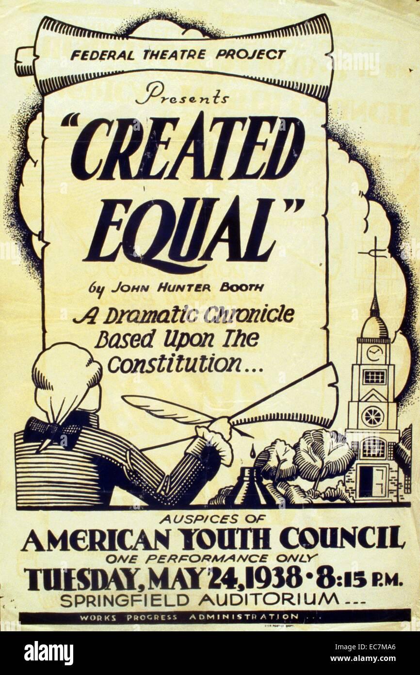 """Poster per il teatro federale la presentazione di un progetto di """"uguali"""" presso l Auditorium di Springfield. Immagini Stock"""