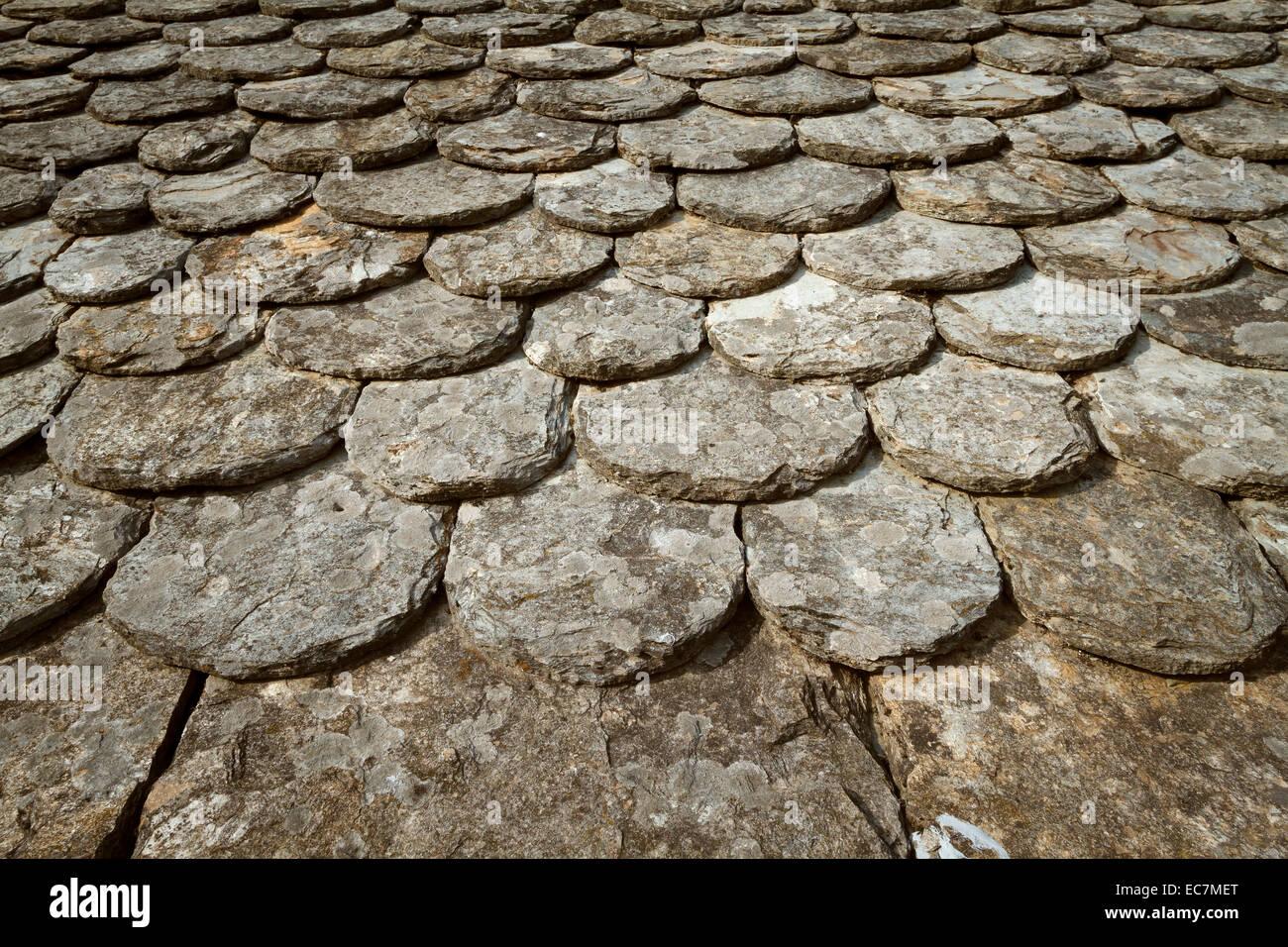 Tradizionale tetto di scisti cevennes, Francia. Immagini Stock