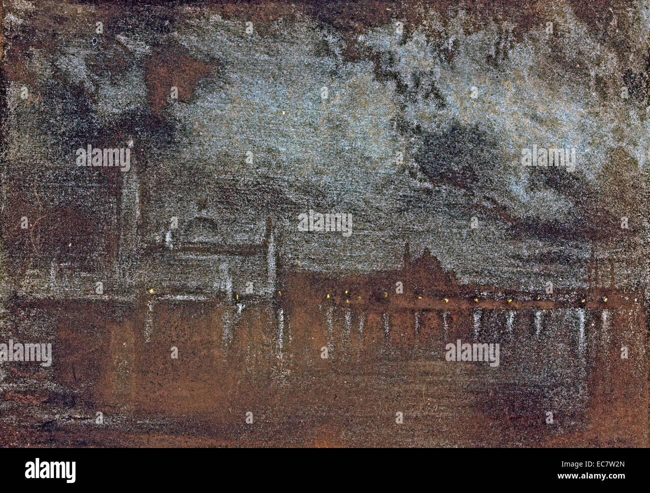 Palace di notte, da Joseph Pennell. 1857-1926. Un quasi nero vista guardando attraverso l'acqua verso il palazzo Immagini Stock