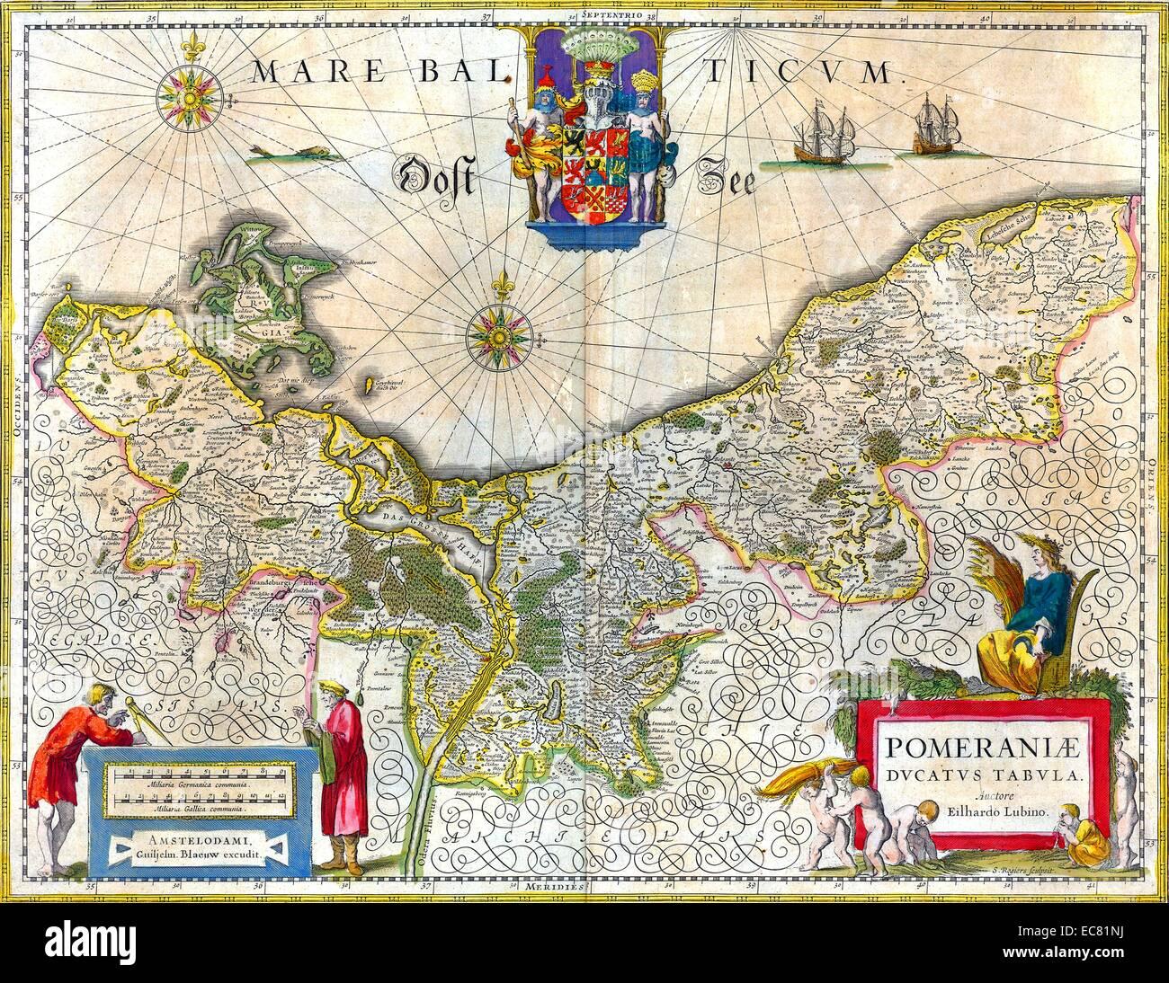Mappa del centro storico di ducato di Pomerania. Risalenti al XVII secolo Immagini Stock