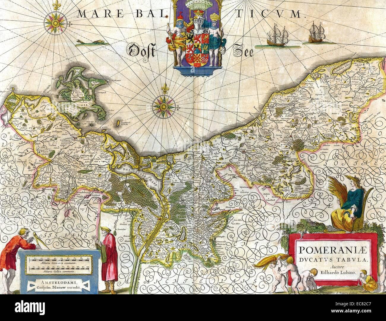 Mappa del centro storico di ducato di Pomerania Immagini Stock